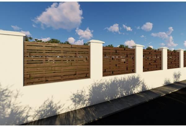 Gard din beton si lemn model GA07
