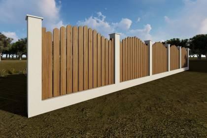 Constructie gard din beton si lemn GA11