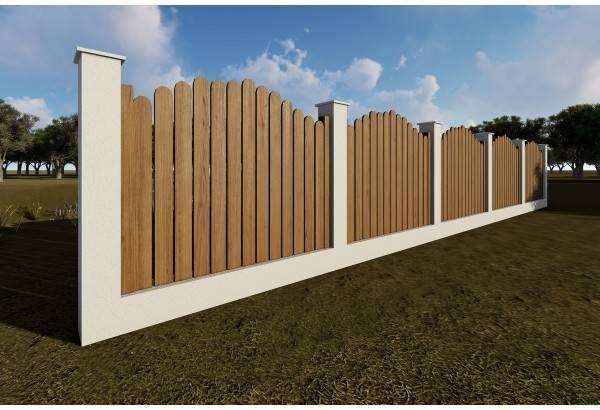 Gard din beton si lemn GA11