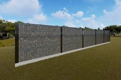 Constructie gard beton metal si piatra sparta GA13
