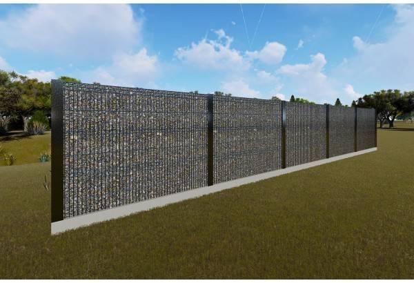 Gard beton metal si piatra sfaramata GA13