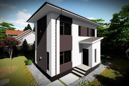 Proiect casa pe structura metalica 123-076