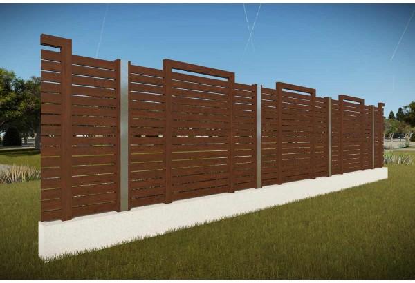 Constructie gard din beton si lemn GA12