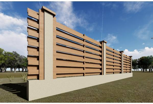 Constructie gard din beton si lemn GA04 natur