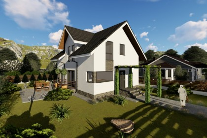 Proiect casa pe structura metalica 186-058