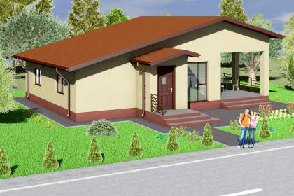 Proiect casa pe structura metalica 115-002