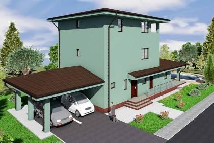 Proiect casa pe structura metalica 294-007