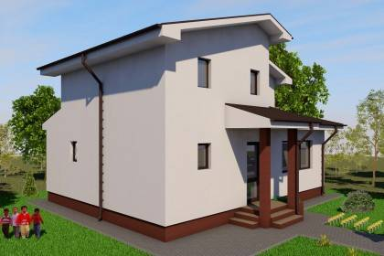 Proiect casa pe structura metalica 135-013