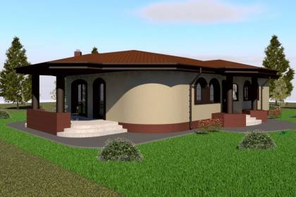 Proiect casa pe structura metalica 186-017