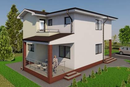 Proiect casa pe structura metalica 224-014