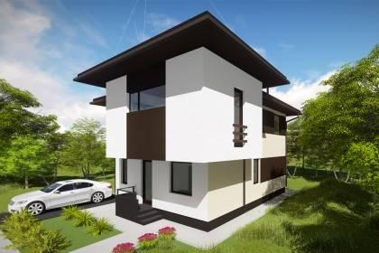 Proiect casa pe structura metalica 167-023