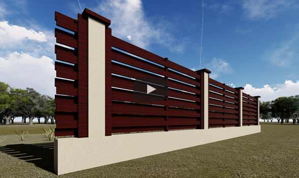 constructie gard din beton si lemn ga04 wenge