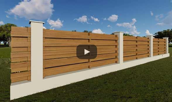 constructie gard din beton si lemn ga04