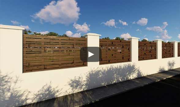 constructie gard din beton si lemn ga07