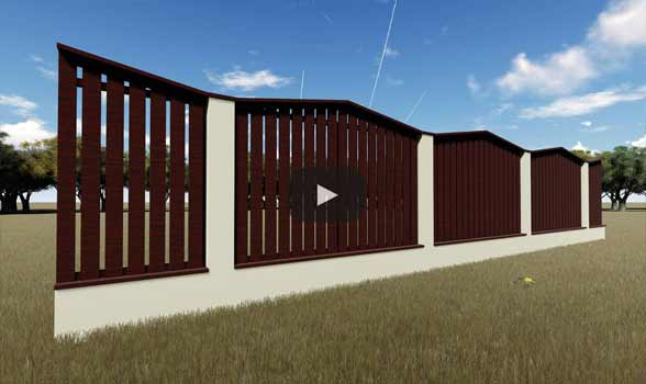 constructie gard din beton si lemn ga17