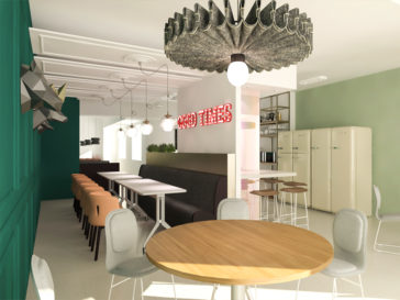 realizare design interior zona luat masa cladire de birouri