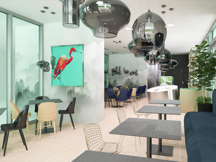 servicii de design interior cafenea 90mp bucuresti