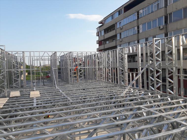 montaj structura metalica parter proiect de hala 480 mp