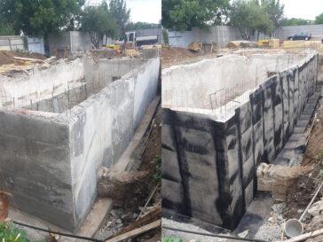 Decofrare pereti perimetrali demisol si hidroizolatie proiect hala 240 mp