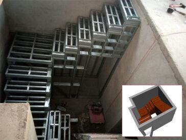 Constructie scara interioara demisol pentru hala metalica