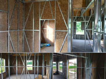 Umplutura peretilor cu vata minerala constructie casa metalica