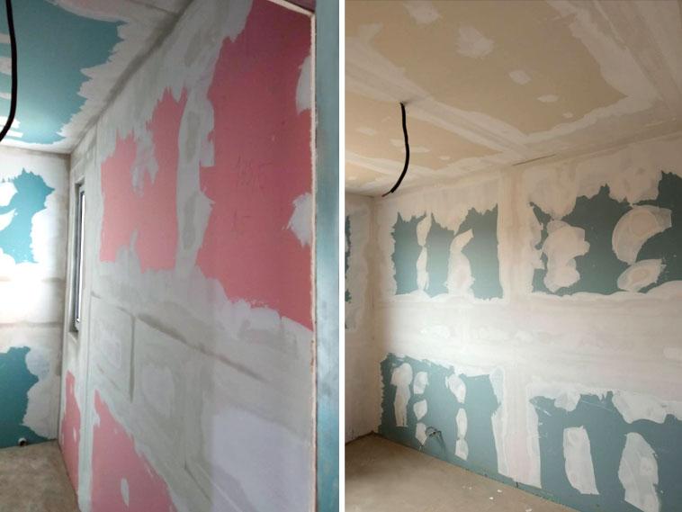 Casa cu structura din otel chituiri si gletuiri pereti interiori si tavane