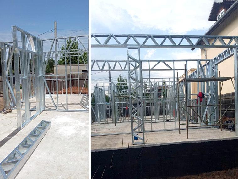 Casa in constructie montaj schelet metalic panouri pereti