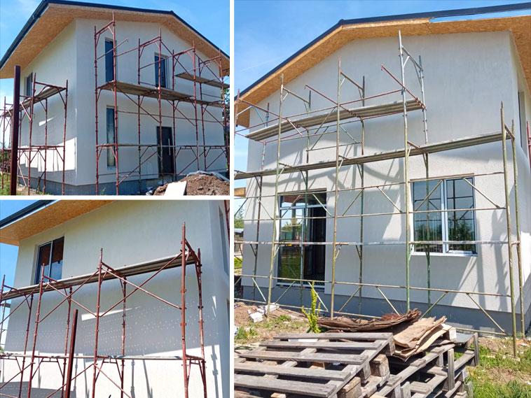 Constructie casa fatade finalizate cu tencuiala decorativa de exterior
