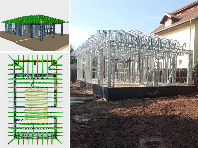 Montaj structura metalica acoperis casa doar parter in Ilfov